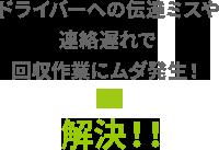 ドライバーへの伝達ミスや連絡遅れで回収作業にムダ発生!→解決!!