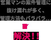 営業マンの案件管理に抜け漏れが多く、管理方法もバラバラ…→解決!!